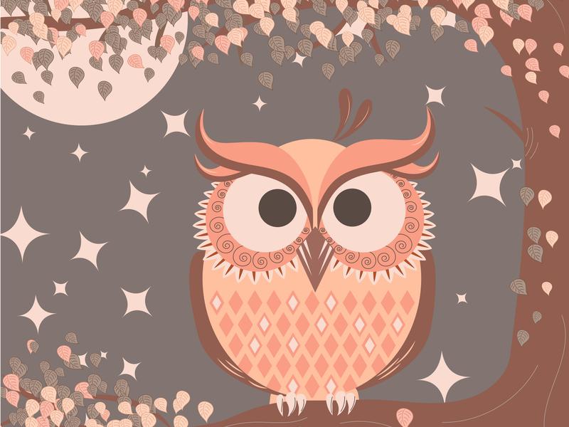 Owl monochrome brown orange monochrome owl illustration ai vector