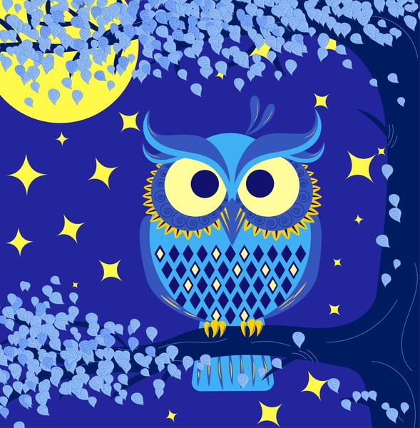 owl complimentary blue yellow complimentary owl illustration ai vector