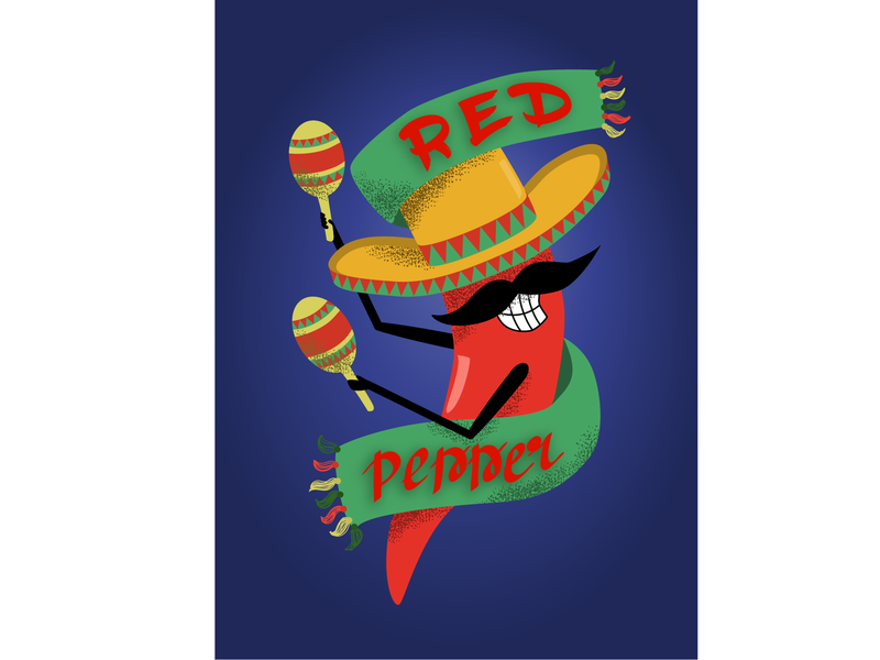 Red Pepper cheerful funy character dance mexico red pepper illustration ai vector