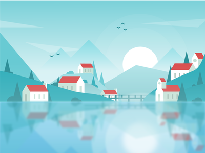 Chabéliard village trees town reflection mountains landscape lake illustration houses hills design civilization city blur alps