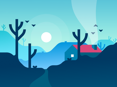 Valley gradient houses isolated vectorii civilization vector mountains hills design illustration landscape