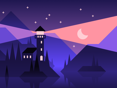Lighthouse lake water ocean stars light night houses mountains lighthouse hills illustration landscape