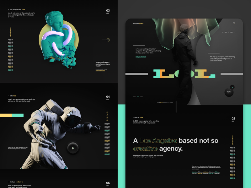 lolololol creatives - Agency landing page design website design web design website ui design agency creative studio landing page film studio branding