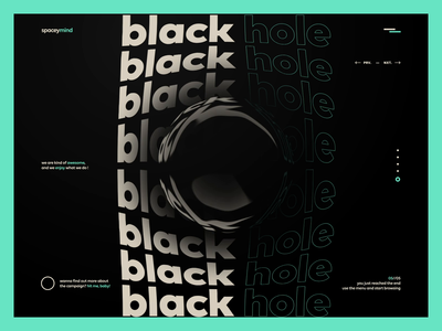 spaceymind - website design black hole after effects agency video space website web design web typography interaction font animation