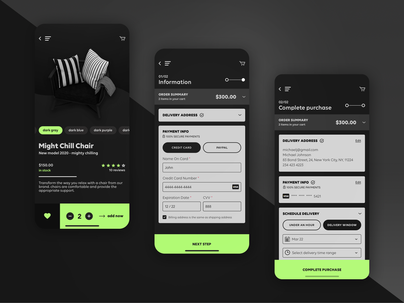FRNT - iOS app for furniture shop iphone commerce e-commerce chairs furniture marketplace user interface user experience ux design ui design mobile app design