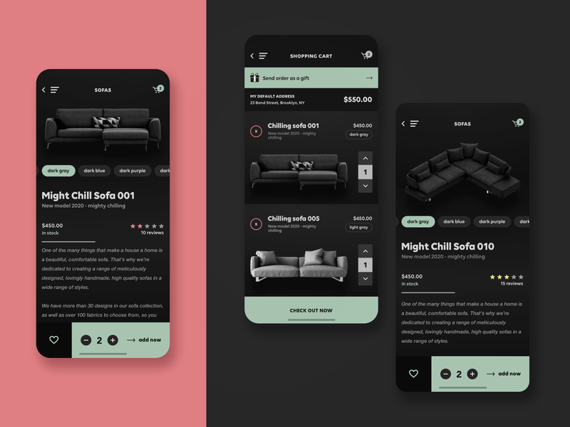 FRNT - iOS app for furniture shop product design commerce e-commerce chairs furniture marketplace user interface user experience ux design ui design mobile app design