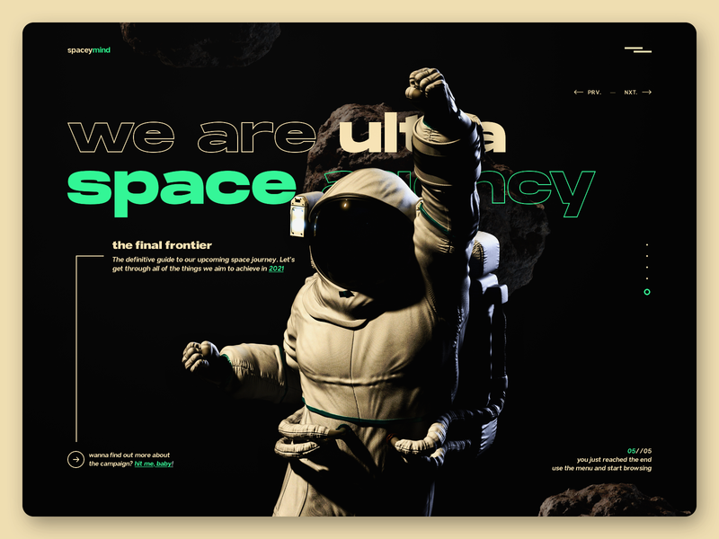 spaceymind - website design creative agency production agency dark website design spaceman digital agency web landing page website web design typography space agency