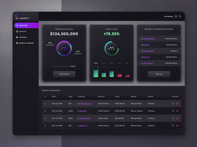 LIQUIDITY - Real Estate Platform for selling, buying, trading web ux ui interface design real estate transactions shares