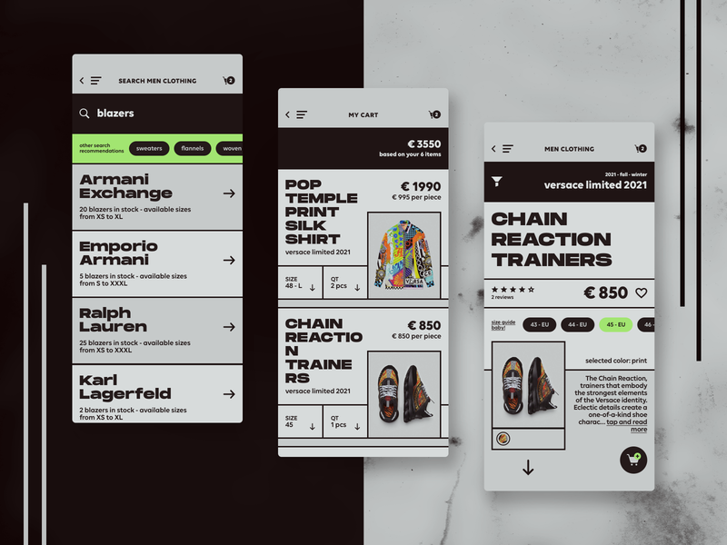 High-End Fashion Store - iOS App Design versace user experience user interface e-commerce ui design ux design ui ux product minimal store mobile app design marketplace high-end clothing fashion