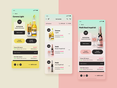 MBD - Liquor, Beer, & Wine - Marketplace iOS App ios wine beer liquor e-commerce marketplace ux design ui design mobile app design