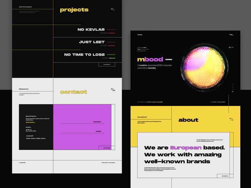 missidiq - Creative agency landing page design 3d digital agency creative agency website design web design website ui design agency creative studio landing page branding