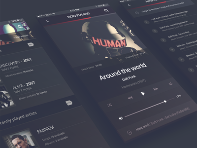 [FREEBIE] Philomela - iPhone 6 Music Player audio player iphone 6 ios player daft punk ios application iphone application music app music player psd download free app freebie