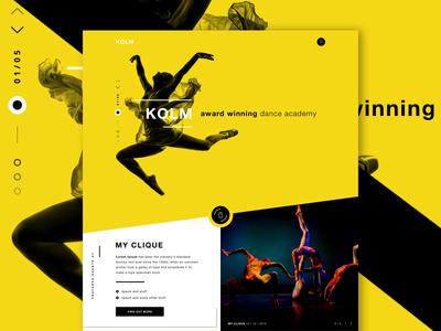 KOLM - Dance Academy one page web design contemporary dance courses ui design ui dance academy dancing landing page website
