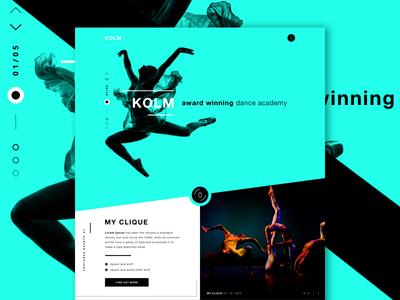 KOLM - Dance Academy - v2 - updated one page web design contemporary dance courses ui design ui dance academy dancing landing page website