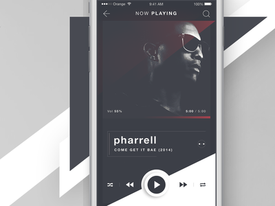 RUBRUM - iOS Music Player - Now Playing album view ios application ios iphone 6s audio player audio play now pharrell music player