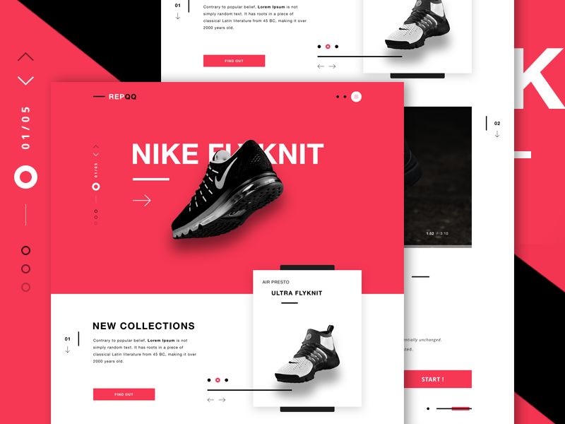 REPQQ - E-Commerce landing page nike casual shopping fitness industry landing page shoes fitness items ui design web design e-commerce ecommerce website