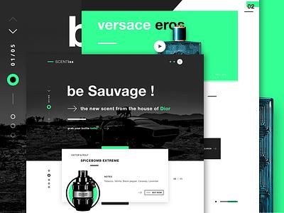 SCENTixx - Perfume shop landing page scents versace dior user interface ui design website design web design perfume shop perfumes