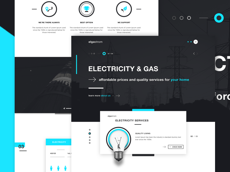 elgastrom - Energy provider landing page gas provider ui design web design website landing page gas energy sources energy provider electricity
