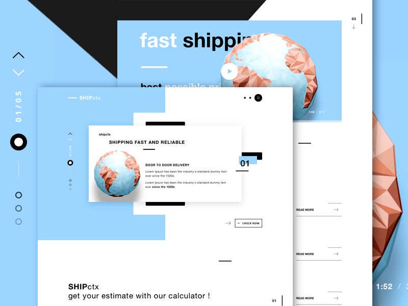 SHIPctx v2 - Shipping services landing page web design delivery services shipping interface design ui design shipping website shipping company