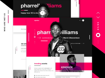 EGEALUX - Music Events Landing Page kendrick lamar the weeknd buy tickets tickets music industry colourful ui design web design landing page music events events