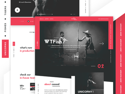 cooxed - a funky digital agency v3 unicorns funky and fresh website design web design creative agency landing page ui ui design digital agency video production production agency minimal