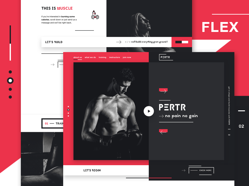 PERTR - Personal trainers landing page concept weight lifting cardio training gym one page website web design landing page personal trainer website ui design fitness website