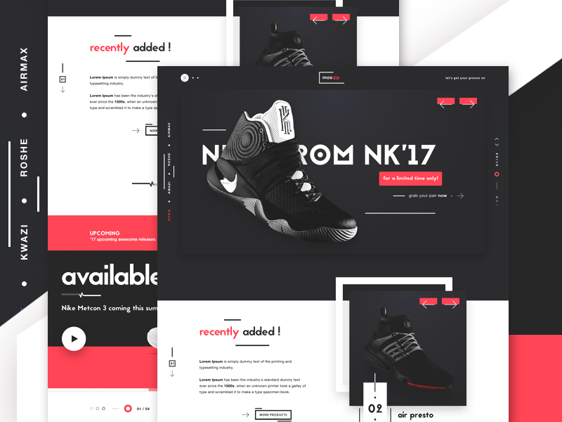 mosqip - Sneakers & CO website ecommerce e-commerce web design ui design fitness items shoes landing page fitness industry casual shopping nike