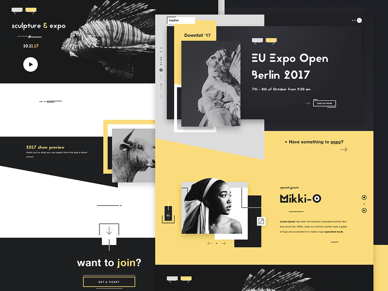 Expber art expo gallery website ui ux design dribbble shot