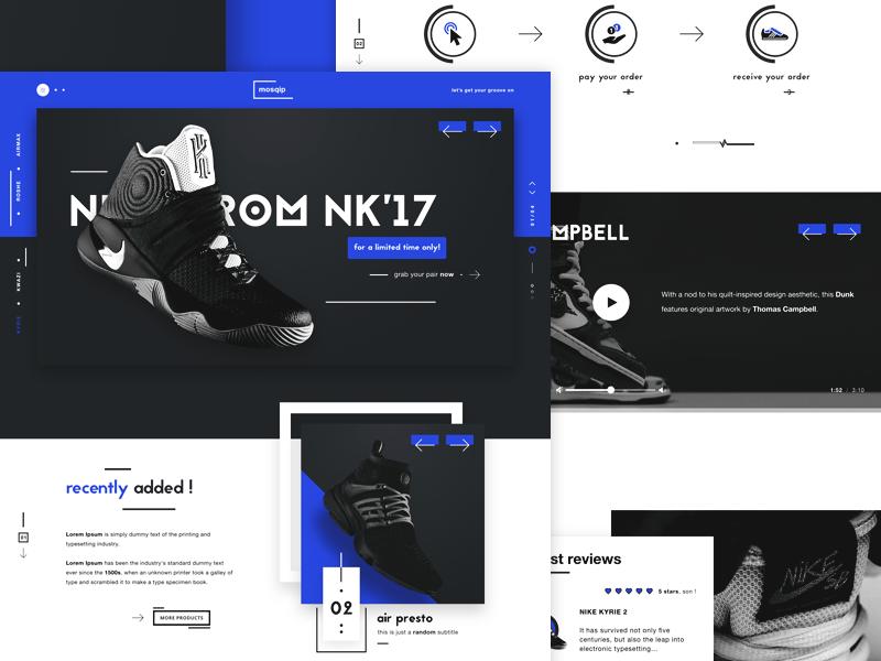 Mosqip sneakers shop website ux ui design dribbble shot