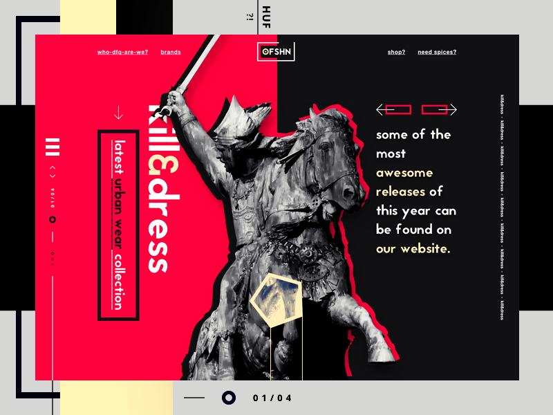OFSHNN - kill&dress landing page web design website design ui design one page minimal clothing fashion urban wear