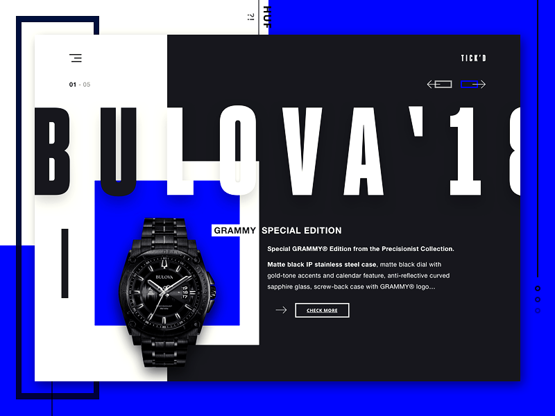 TICK'D - Watch shop concept bulova shopping ui watch watch shop hype minimal one page ui design website design web design landing page