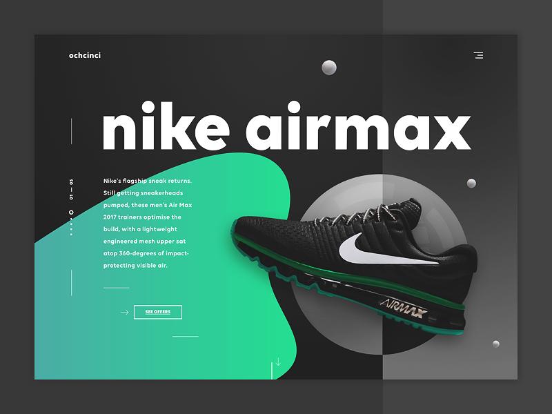 Ochcinci landing page nike design ui ux product web dribbble shot