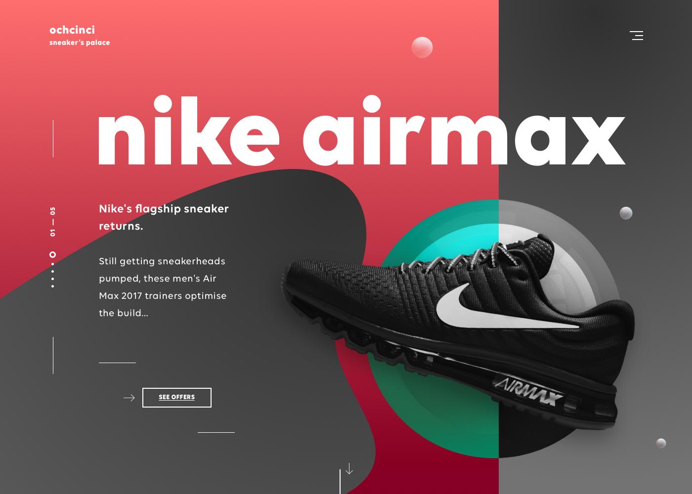 Ochcinci landing page nike design ui ux product web dribbble full 5