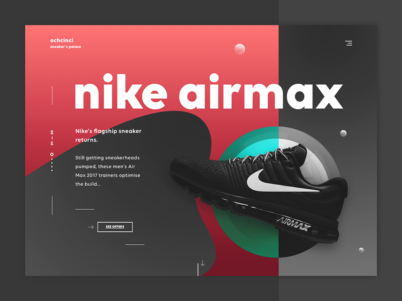 ochcinci - sneakers & co #2 online shop modern ecommerce e-commerce web design ui design shoes landing page sneakers casual shopping nike