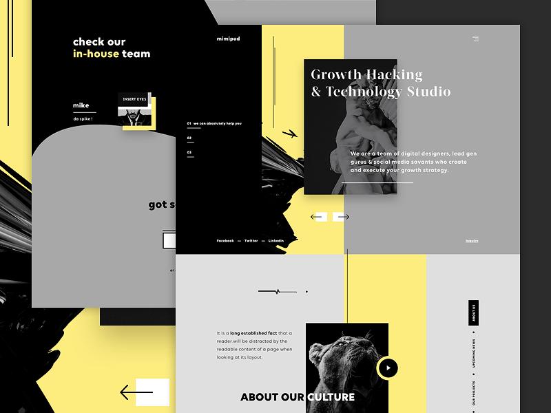 mimipod - digital agency minimal production agency video production digital agency ui design ui landing page creative agency web design website design product design software