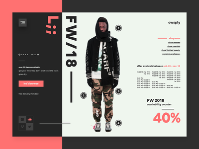 owsply - urban wear - online shopping off white clothing urban wear design e-commerce ecommerce fashion user interface website one page minimal ui website design landing page web design ui design