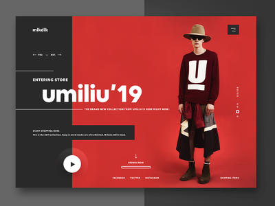 mikdik - online fashion store street wear clothing urban wear ui design web design landing page website design ui minimal one page website user interface fashion ecommerce nike e-commerce funky and fresh design shoes