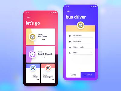 BusStop - iOS App for Schools ios uber for schools school bus bus stop user interface user experience ux design ui design mobile app design