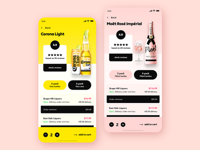 MBD - Liquor, Beer, & Wine - iOS Marketplace App Design moet corona ecommerce wine beer liquor marketplace user interface user experience ux design ui design mobile app design