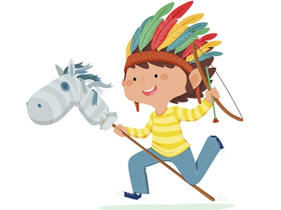 Kids games games kids indian horse feathers illustration tizashechastrizas tht