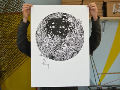 Spazi della Mente art illustration print screenprinting face