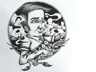 Mr Wallys tattoo sketch pen white black blackandwhite paper ink
