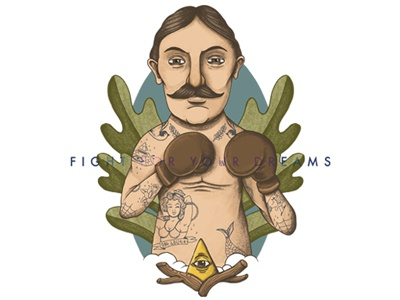 Fight for your dreams characters illustration ink watercolors vintage boxe tattoo digital