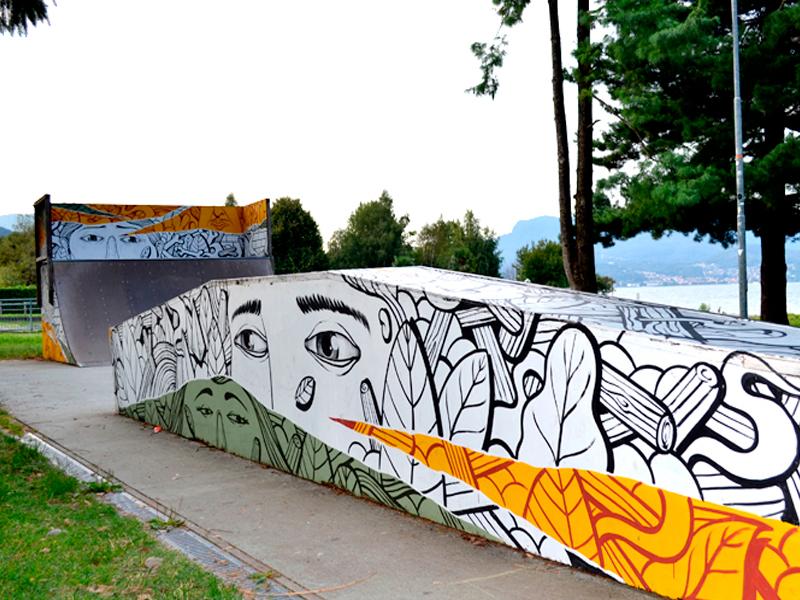 Skatepark illustration characters streetart custom paint arte di strada skatepark collage skate