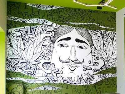 Hemp Henbassy characters nature street art white green ganja
