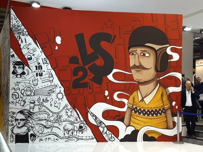 EICMA 2017 LS2 Helmets street art graffiti lettering doodle red eicma characters moto