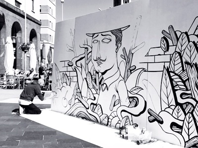 Seacreative x Cherries Comunicazione blackandwhite seacreative comunicazione cherries characters live painting streetart video