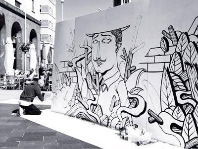 Seacreative x Cherries Comunicazione blackandwhite seacreative comunicazione cherries characters live painting streetart video