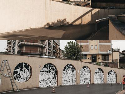 dots mural art characters wall art street streetart