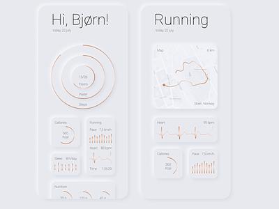 Running App   Soft UI concept ui design ui ux design ui design app designer mobile design running app minimalism ui neomorphism mobile ui mobile app copper soft ui